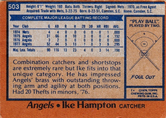 Angels 1978 Topps Ike Hampton B