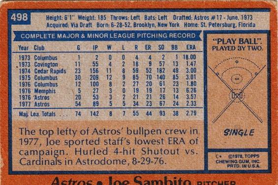 Astros 1978 Topps Joe Sambito B