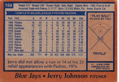 Blue Jays 1978 Topps Jerry Johnson B
