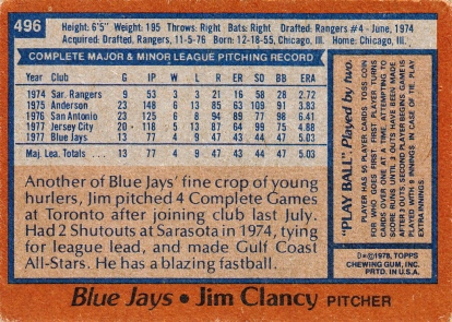 Blue Jays 1978 Topps Jim Clancy B