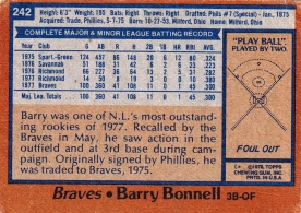 Braves 1978 Topps Barry Bonnell B