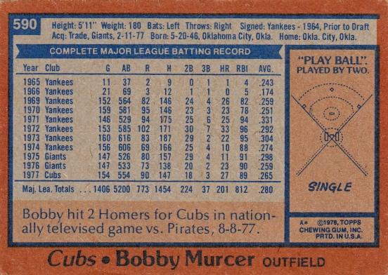Cubs 1978 Topps Bobby Murcer B