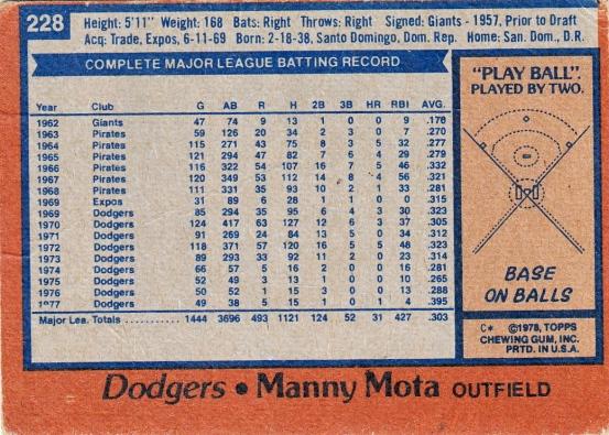 Dodgers 1978 Topps Manny Mota B