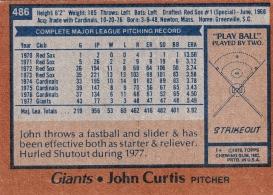 Giants 1978 Topps John Curtis B