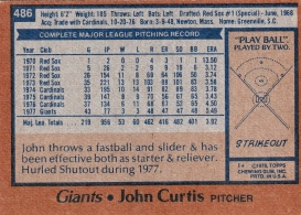 Giants 1978 Topps John Curtis B
