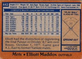 Mets 1978 Topps Elliott Maddox B