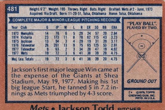 Mets 1978 Topps Jackson Todd B