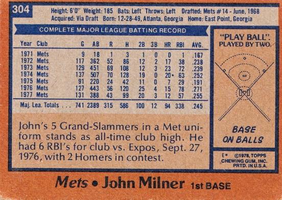 Mets 1978 Topps John Milner B