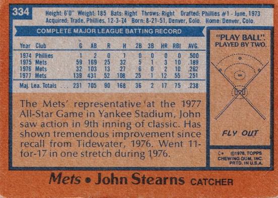 Mets 1978 Topps John Stearns B