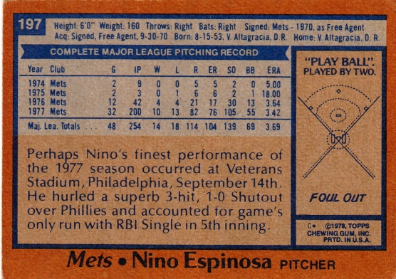 Mets 1978 Topps Nino Espinosa B