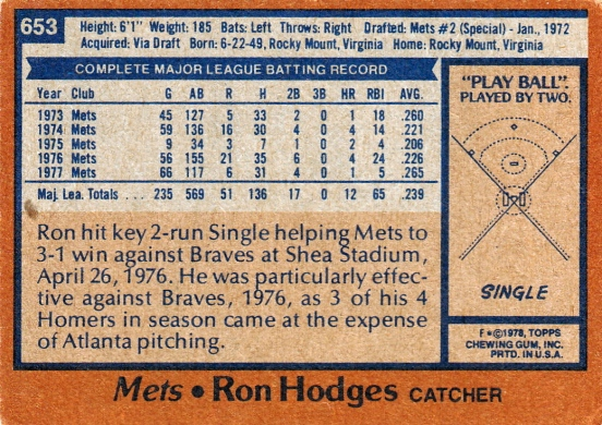 Mets 1978 Topps Ron Hodges B