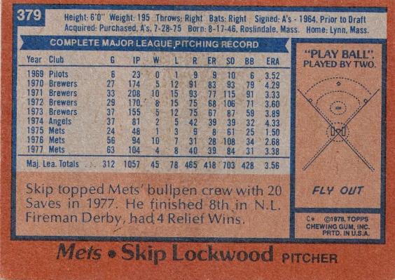 Mets 1978 Topps Skip Lockwood B