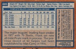 Pirates 1978 Topps Frank Taveras B