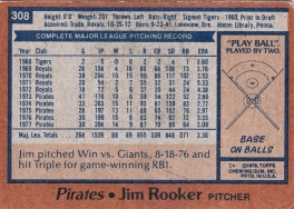 Pirates 1978 Topps Jim Rooker B