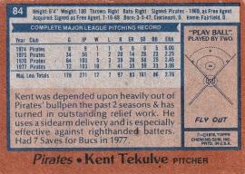 Pirates 1978 Topps Kent Tekulve B