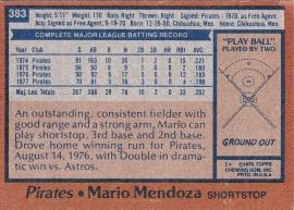 Pirates 1978 Topps Mario Mendoza B