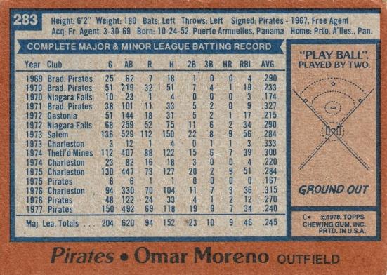 Pirates 1978 Topps Omar Moreno B