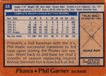 Pirates 1978 Topps Phil Garner B