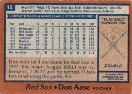 Red Sox 1978 Topps Don Aase B