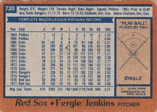 Red Sox 1978 Topps Fergie Jenkins B