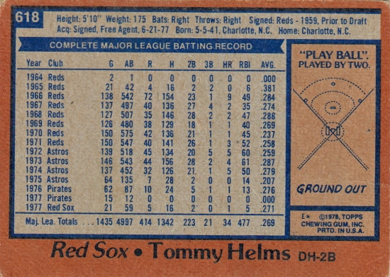 Red Sox 1978 Topps Tommy Helms B