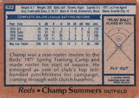 Reds 1978 Topps Champ Summers B