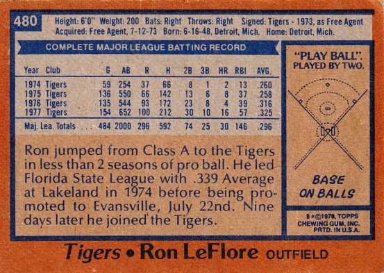 Tigers 1978 Topps Ron FeFlore B