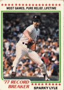 Yankees 1978 Topps 77 Record Breaker Sparky Lyle F