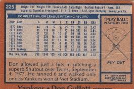 Yankees 1978 Topps Don Gullett B