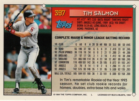 Angels 1994 Topps Tim Salmon B