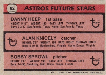 Astros 1981 Topps Future Stars B