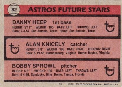 Astros 1981 Topps Future Stars B
