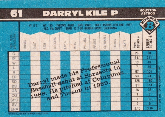 Darryl Kile Rookie Card