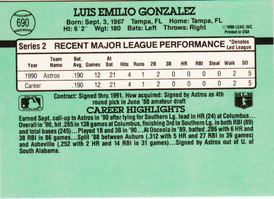 Luis Gonzalez Rookie Card