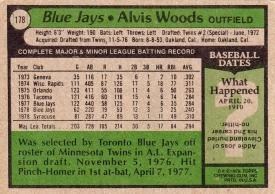 Blue Jays 1979 Topps Alvis Woods B