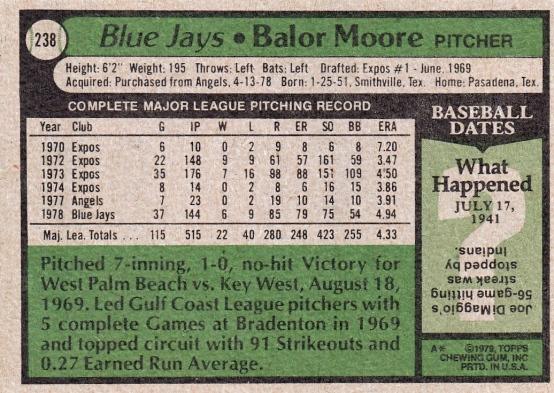 Blue Jays 1979 Topps Balor Moore B