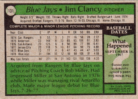 Blue Jays 1979 Topps Jim Clancy B