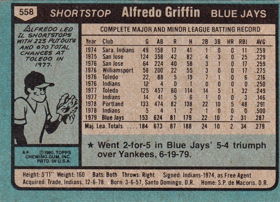 Blue Jays 1980 Topps Alfredo Griffin B RC