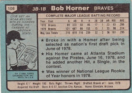 Braves 1980 Topps Bob Horner B