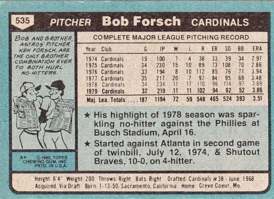 Bob Forsch, Cardinals, Baseball Card