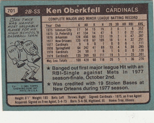 Ken Oberkfell Rookie Card