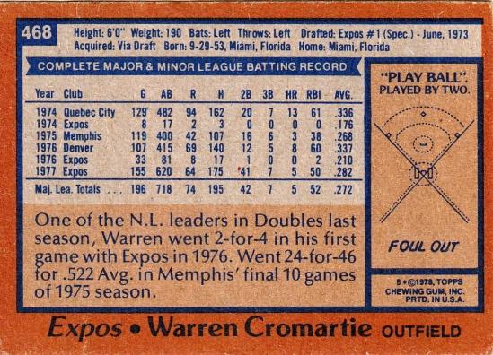 Expos 1978 Topps Warren Cromartie B