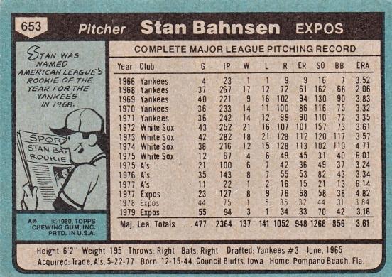 Expos 1980 Topps Stan Bahnsen B