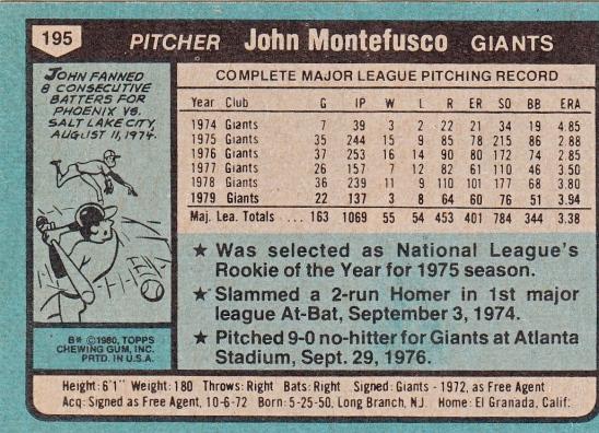 John Montefusco, Giants, Baseball Card