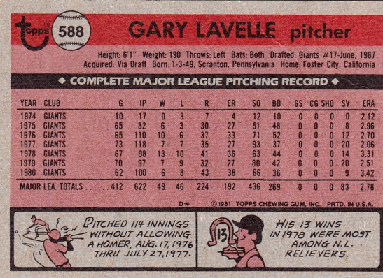 Giants 1981 Topps Gary Lavelle B