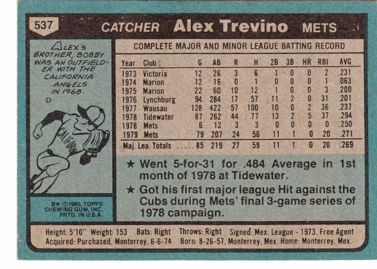 Alex Trevino Rookie Card
