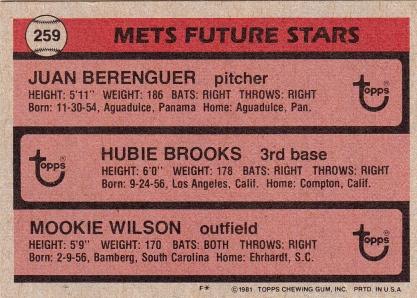 Mets 1981 Topps Future Stars B