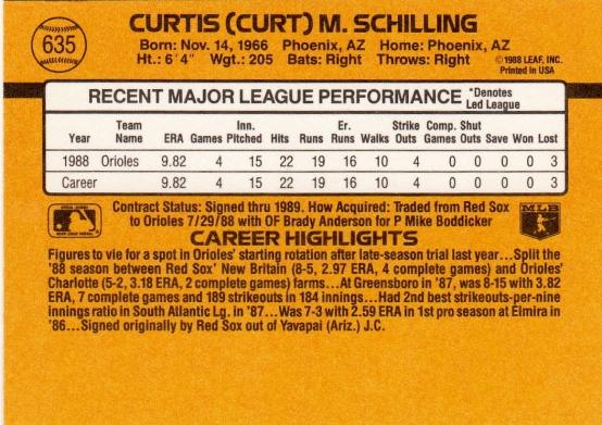 Curt Schilling Rookie Card