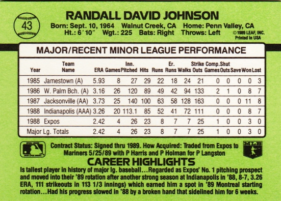 Randy Johnson 1989 Donruss B RC