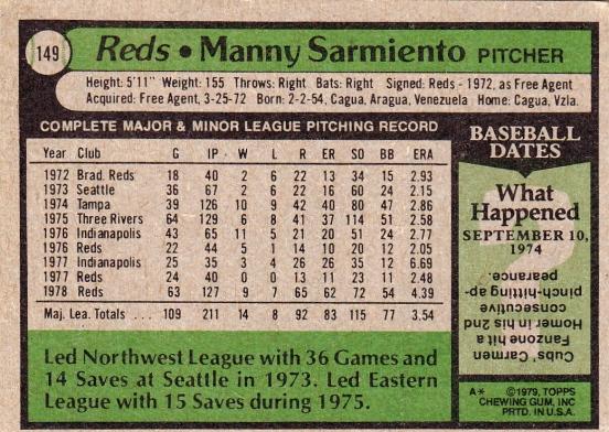 Reds 1979 Topps Manny Sarmiento B